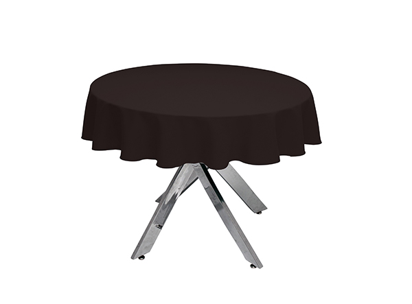 Chocolate Round Tablecloth in Luxury Plain