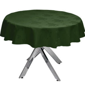Damask Rose Forest Green Round Tablecloth