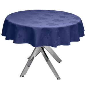 Damask Rose Navy Blue Round Tablecloth