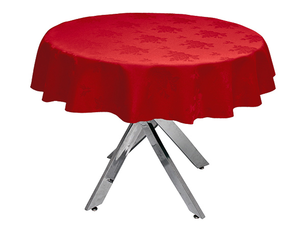 Damask Rose Red Round Tablecloth