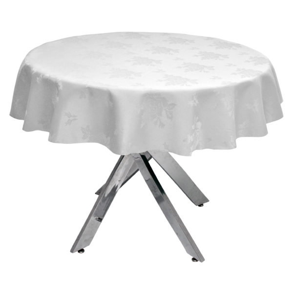 Damask Rose White Round Tablecloth