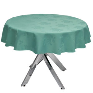 Damask Rose Seafoam Round Tablecloth