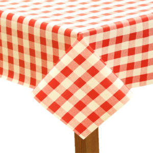 Round PVC Tablecloth in Gingham Red