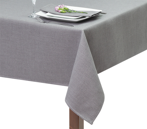 Grey Basket Weave Square Tablecloth