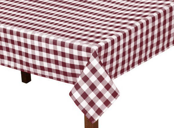 Burgundy Gingham Square Tablecloth