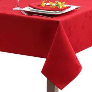 Red Ivy Leaf Square Tablecloth