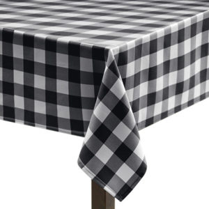 Black Gingham Large Square Tablecloth