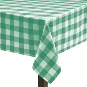 Green Gingham Large Square Tablecloth