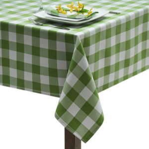 Lime Green Gingham Large Square Tablecloth