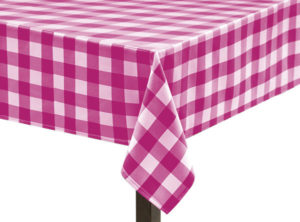 Pink Gingham Large Square Tablecloth