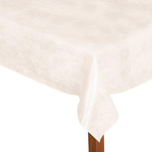 Luxury Leatherette square white tablecloth.
