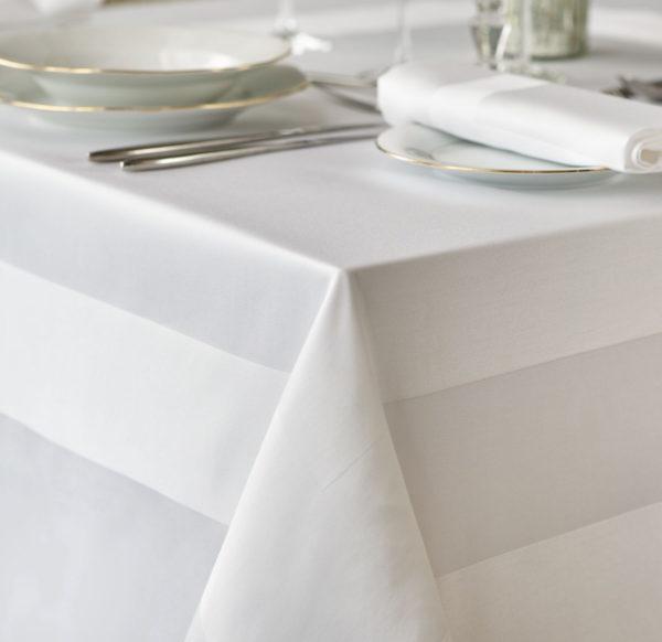 White Satin Band Square Tablecloth