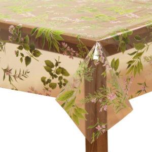 PVC Clear Wild Flower Tablecloth