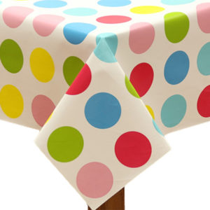 PVC Large Mixed Polka Dot Tablecloth