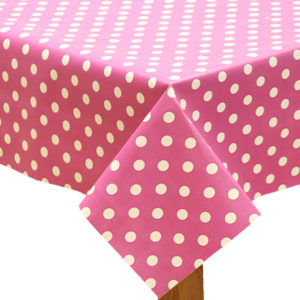 Polka Dot Raspberry Tablecloth