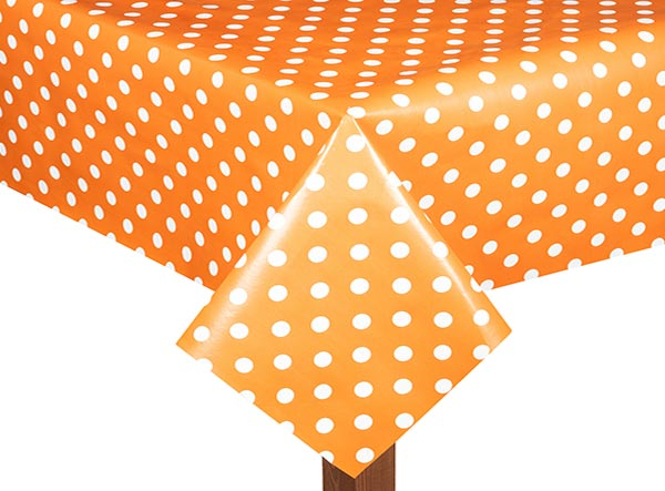 PVC Polka Dot Orange Tablecloth