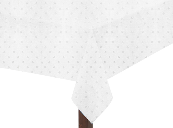 White Polka Dot Square Tablecloth