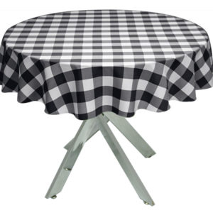 Black Gingham Large Tablecloth