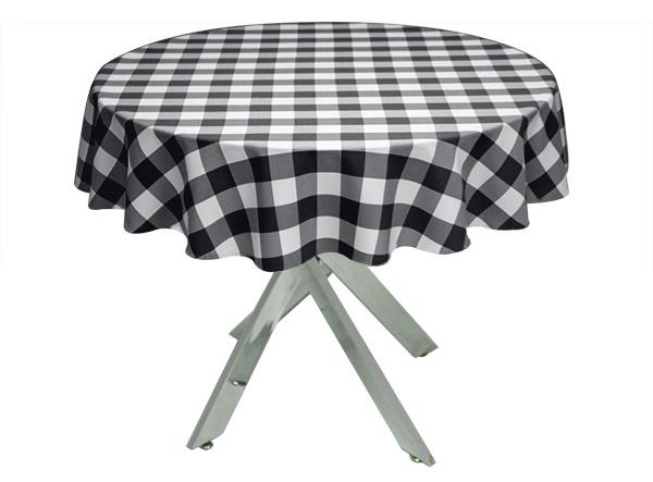 Black Gingham Large Tablecloth
