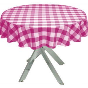 Pink Gingham Large Tablecloth