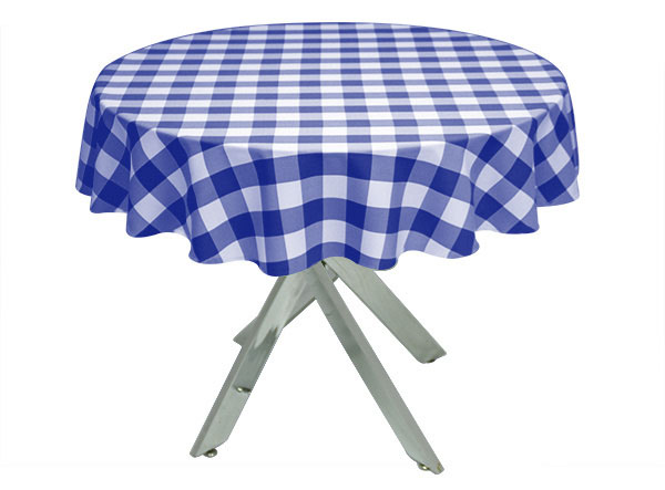 Royal Blue Gingham Large Tablecloth