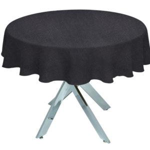 Black Linen Union Round Tablecloth