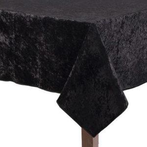 Black Crushed Velvet Square Tablecloth