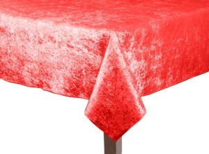 Red Crushed Velvet Square Tablecloth