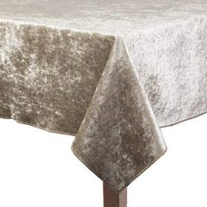 Sandalwood Crushed Velvet Square Tablecloth