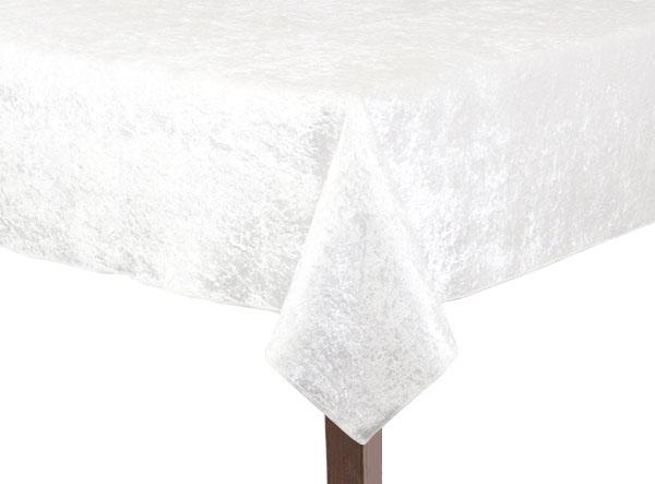 White Crushed Velvet Square Tablecloth