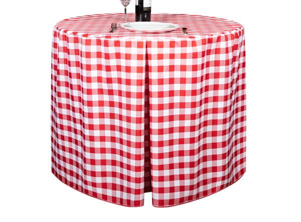 Fitted Round Gingham Red Tablecloth