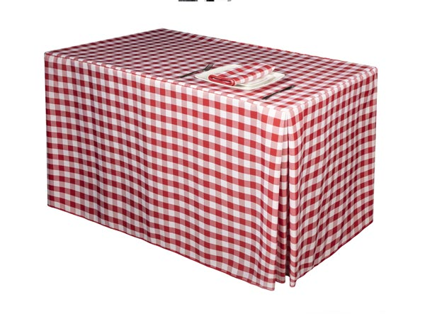 Red Gingham Fitted Tablecloth