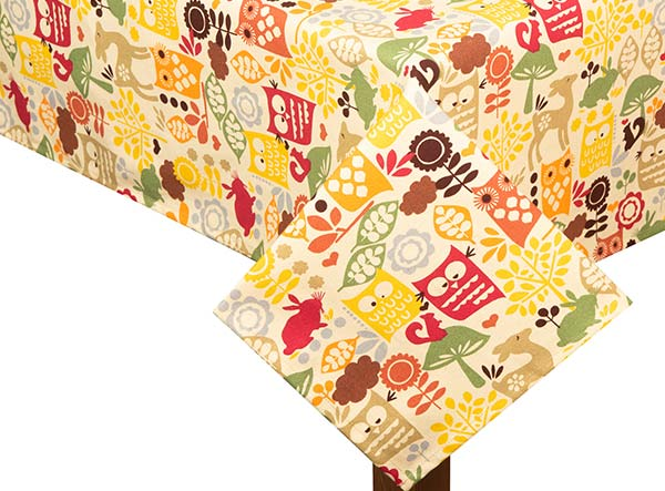Forest Friends Square Tablecloth