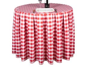 Pleated Round Gingham Red