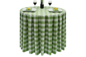 Pleated Round Large Gingham Lime-Green.