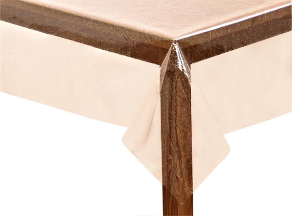 PVC-Clear-Glitter Square Tablecloth
